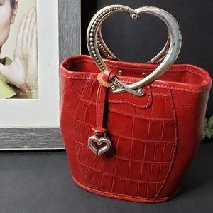 Brighton Corazon Heart Handle Handbag Red Croc